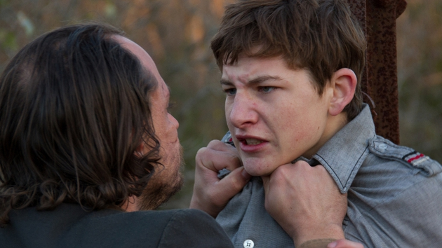 Young Gary (Tye Sheridan) tangles with a local drunk, Willie Russell, played by Ronnie Gene Blevins