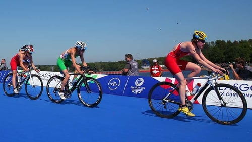 Aileen Reid was second after lap four of the bike leg