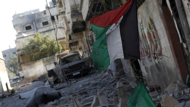 An area in the Al Shejaeiya neighbourhood was damaged  during an Israeli military operation