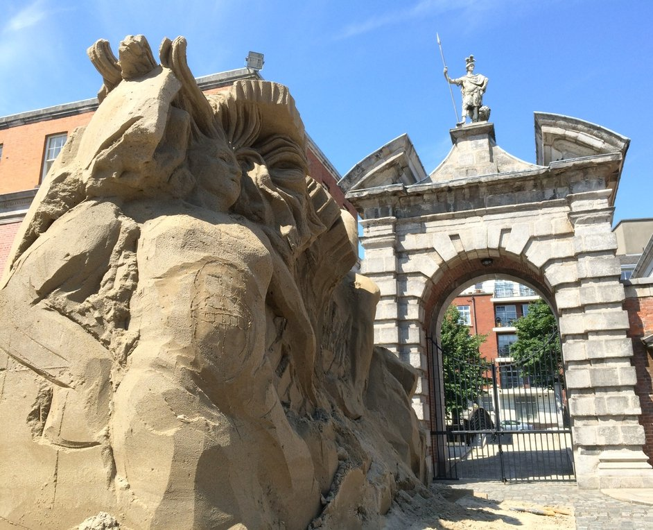 Sun, sand, and statues at Dublin Castle ahead of the sand sculpture exhibition which runs from 30 July to  21 August
