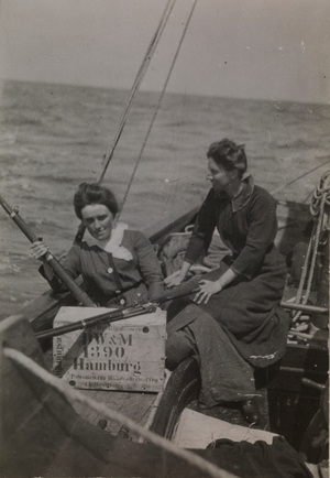 Molly Childers and Mary Spring Rice with the munitions bought from Germany (Pic: The Board of Trinity College Dublin)