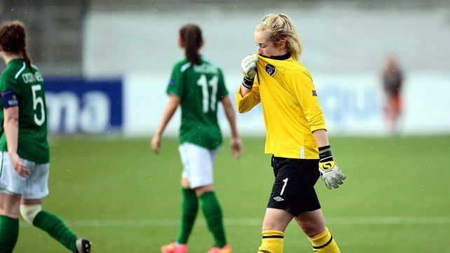 Ireland goalkeeper Brooke Dunne shows her disappointment after the game