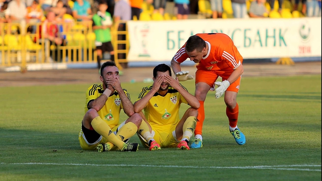 Speak no evil, see no evil - Shakhtyor Soligorsk's players engage in a somewhat odd celebration following their opening goal in Belarus