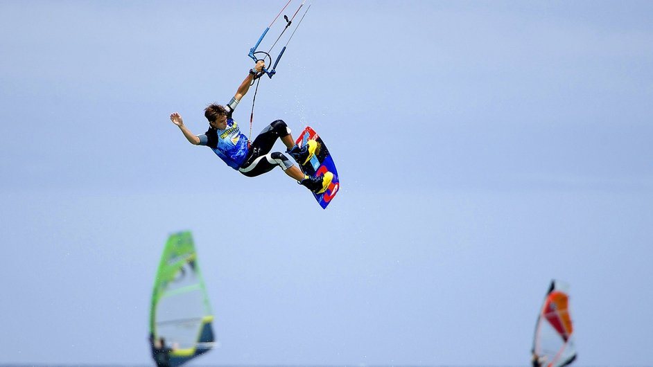 Russian kite surfer Artem Garashchenko in action during the Windsurfing and Kiteboarding World Championships in Fuerteventura
