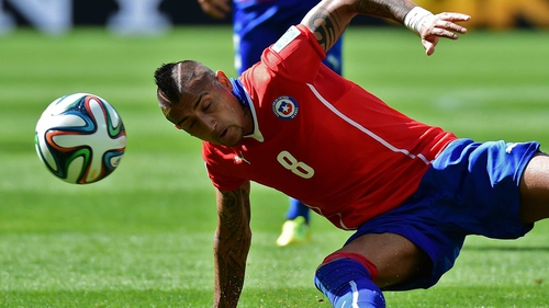 Arturo Vidal in action for Chile during this summer's World Cup
