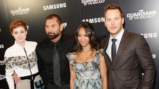 Stars Karen Gillan, David Bautista, Zoe Saldana and Chris Pratt