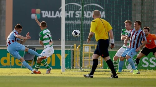 Gavan Holohan scores the only goal of the game to seal three points for Drogheda United at Tallaght Stadium