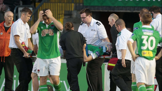 Brian Lenihan was removed from the pitch on a stretcher and taken to the Mater Hospital