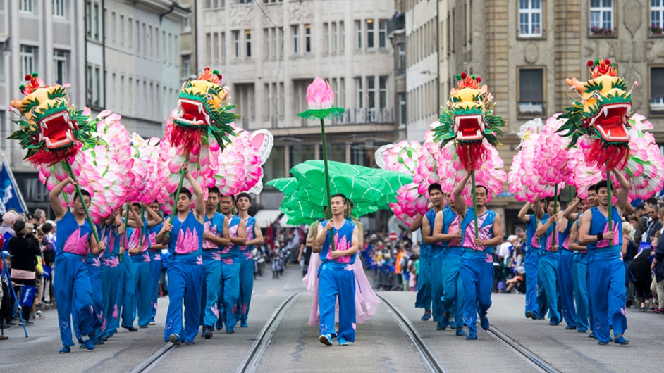 Changxing Lotus Dragon Folklore Group in the streets of Basel, Switzerland