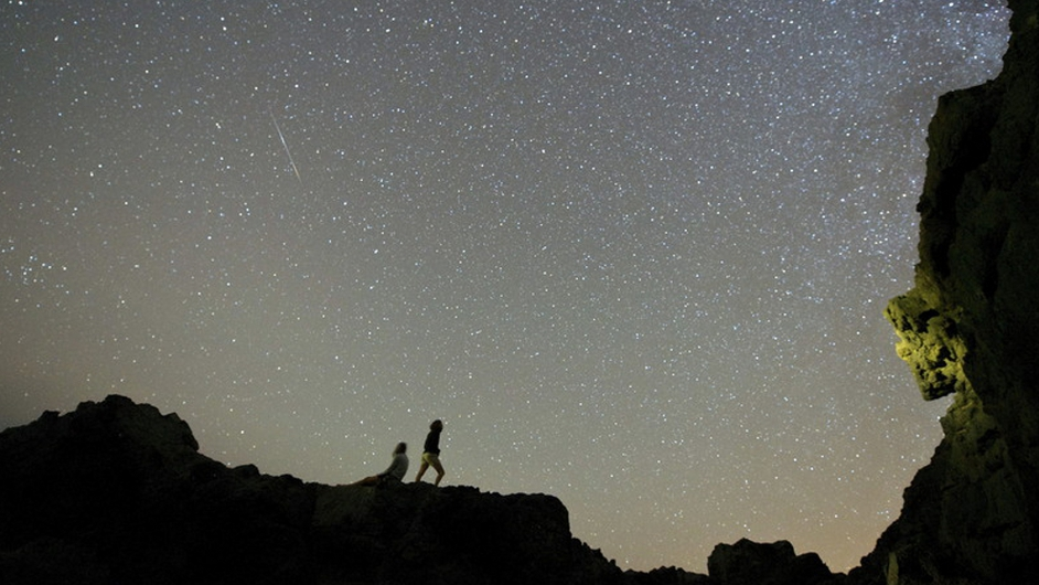 Sky crammed with stars during a Delta Aquarids meteor shower at El Valle in the island of Fuerteventura