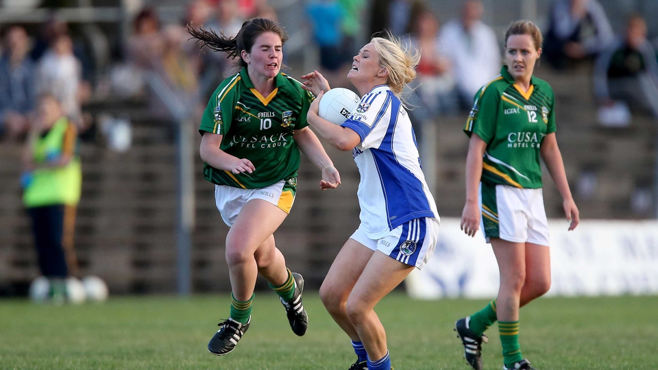 Cavan's Claragh O'Reilly and Shauna Ennis of Meath during their championship clash on Saturday