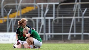 Kildare's Rachel Corrigan and Donna Barry dejected after the game against Tyrone