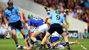 During the game, the tackles came in hard and fast: Here, Tipperary's Noel McGrath and James Barry with Danny Sutcliffe, Ryan O'Dwyer and John McCaffrey of Dublin battle for the sliotar
