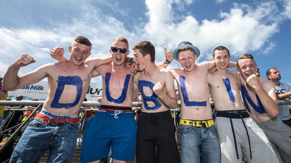Dublin supporters (L-R) Dylan Keeley, Mark Hayes, Kieth Cooling, Luke Kelly, Daniel Cullen and Sean Rossiter from the Craobh Chiaráin club were enjoying the Thurles sunshine (hopefully they found cover for the rain to come)