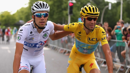 Vincenzo Nibali rides with Thibaut Pinot of France on the way to winning