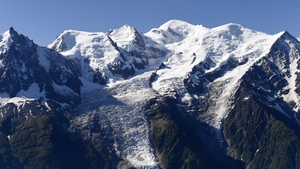 A view of the Mont Blanc range in the French Alps taken earlier this month
