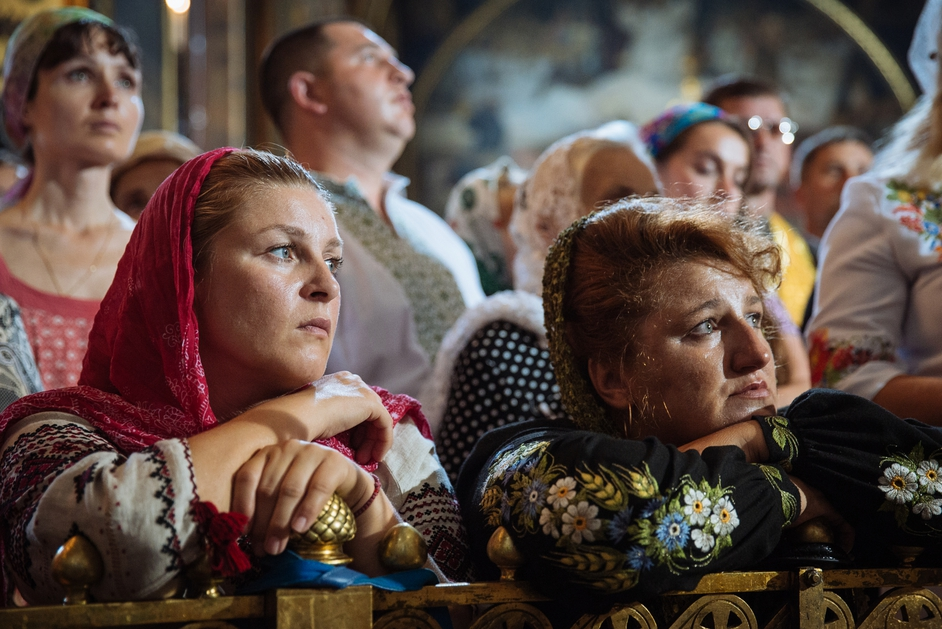 People attend a prayer service in the St Volodymir cathedral in Kiev, Ukraine