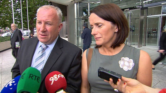 Adrian and Mary Ronan speaking outside court today