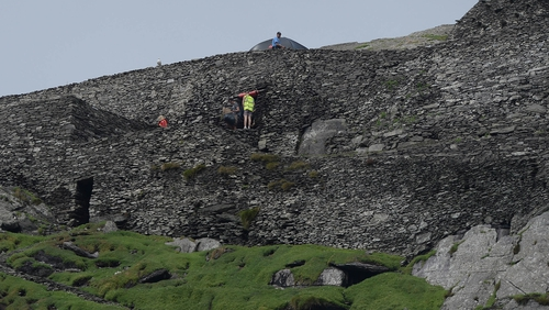 Production crew and sets on Skellig Island as Star Wars: Episode VII begins filming