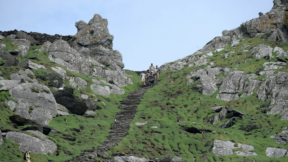 Production crew work to create sets on Skellig Michael as Star Wars Episode VII begins filming