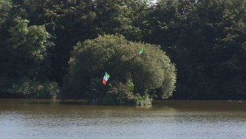 Two Irish tricolours were hung from trees on the island in Bessbrook Pond