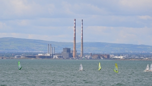 Windsurfers in front of the Pigeon House towers in Dublin Bay (Pic: Bernard Stobie)