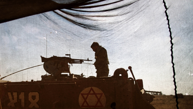 Israeli soldiers at an undisclosed location near Gaza