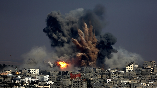Smoke rises after an Israeli strike in the east of Gaza City