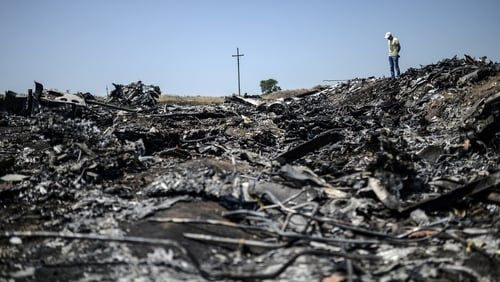 Debris at the scene of MH17, which was downed in eastern Ukraine