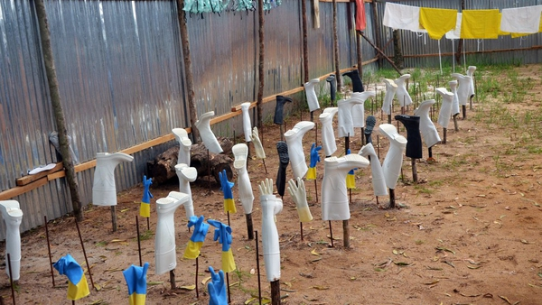 Protective gear drying after being used in an Ebola treatment room in Liberia