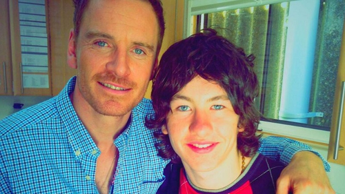 Barry pictured with Michael Fassbinder, image c/o Barry Keoghan/Twitter