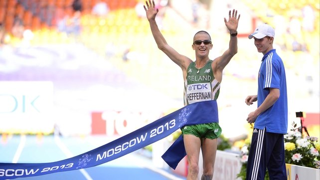 Rob Heffernan crosses the line in Moscow to take world gold