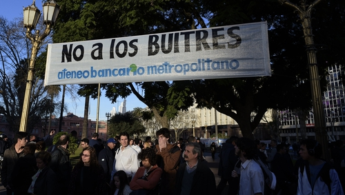 A banner reading 'No to the vultures' is seen at Plaza de Mayo square in Buenos Aires during recent demonstrations
