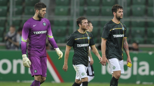 Celtic players looking dejected after they were well beaten by Legia
