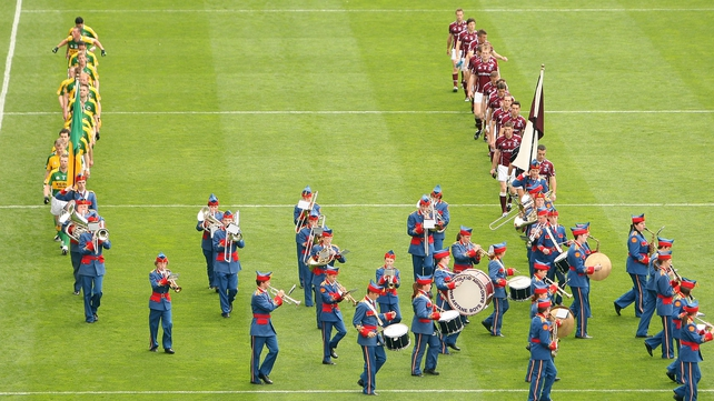 Galway and Kerry in the parade before their 2008 quarter-final clash