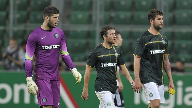 A dejected Fraser Forster, Adam Matthews and Charlie Mulgrew