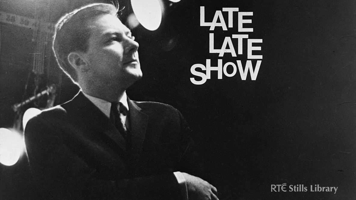 Gay Byrne on 'The Late Late Show' set in 1968.