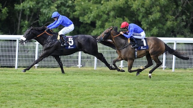 Kieren Fallon aboard Cavalryman (l) held off the challenge of Ahzeemah