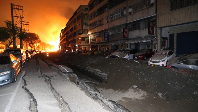 A blast rips through the city of Kaohsiung in southern Taiwan