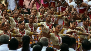 Students of the performing arts perform at their graduation ceremony near Colombo, Sri Lanka