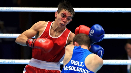 Michael Conlan (Red) in action against Wales' Sean Mcgoldrick (Blue)