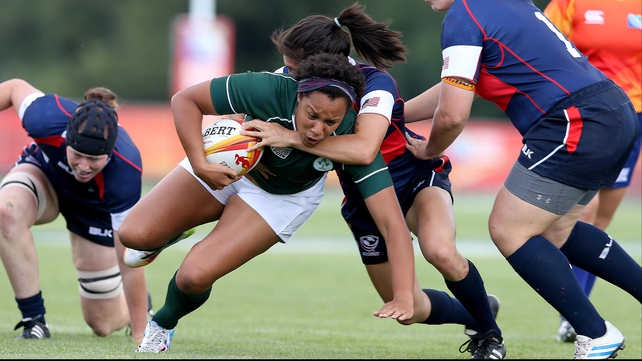 Ireland's Sophie Spence tackled by Jocelyn Tseng