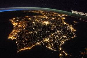 The Iberian peninsula at night seen from the International Space Station (ISS)