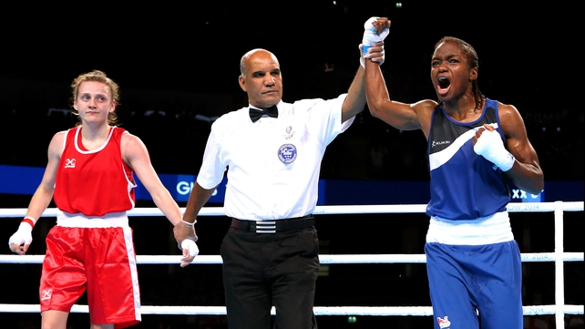 Nicola Adams celebrates victory in Glasgow