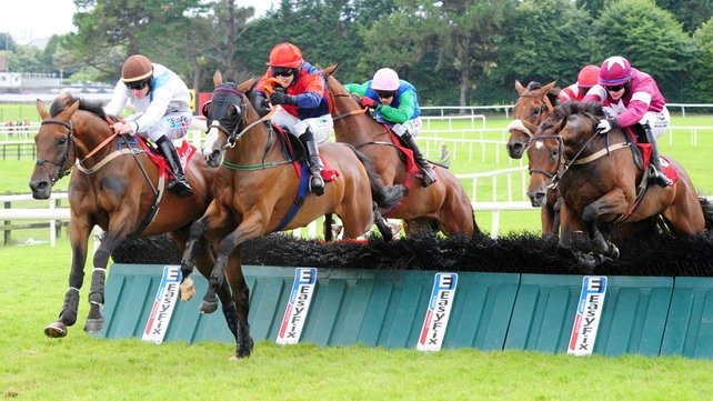 The visored Prince Rudi jumps the last at Ballybrit