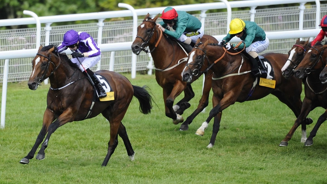 Joseph O'Brien riding Highland Reel (eft) to win The Veuve Clicquot Vintage Stakes at Goodwood