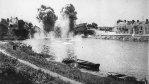 Blowing up a bridge over the River Aisne in France during WWI
