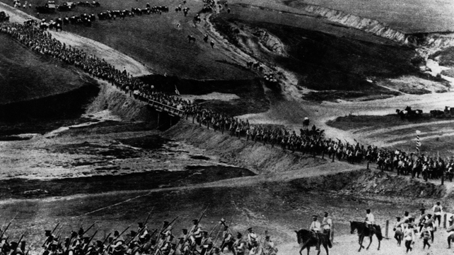 A long line of Russian troops marching westwards (Originally published in The Illustrated War News)