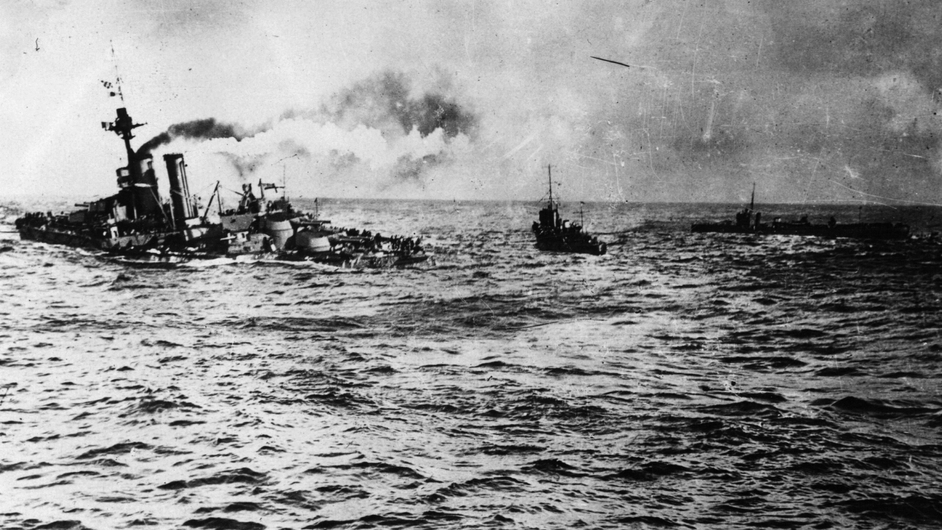 Superdreadnought HMS 'Audacious' sinks off the north Irish coast after hitting mines