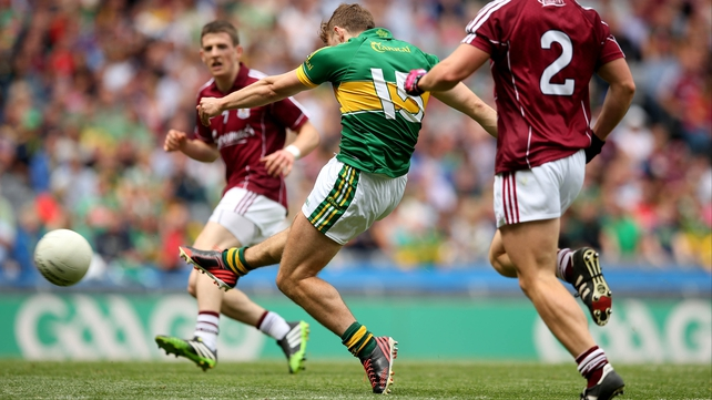 James O'Donoghue fires Kerry's goal at Croke Park